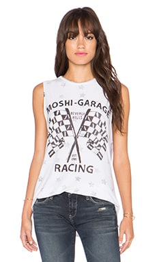 Lauren Moshi Roxane Moshi Racing Vintage Muscle Tee in Reverse White