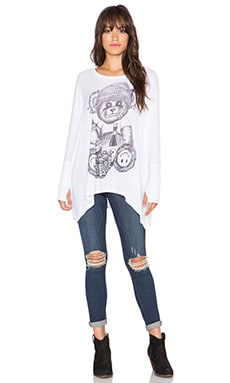 Lauren Moshi Dia Juice Bear Draped Thumbhole Top in White