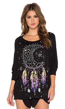 Lauren Moshi Kayla Large Moon Dreamcatcher Oversized Cape Top in Black