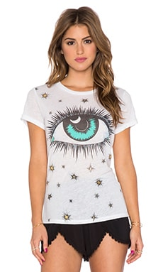 Lauren Moshi Briley Cosmic Eye Open Back Tee in White