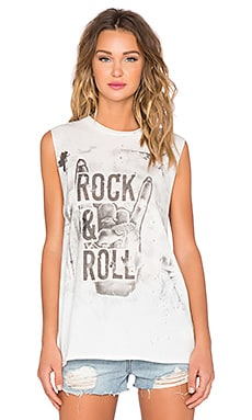 Lauren Moshi Roxanne Rock & Roll Hand Muscle Tee in Paint Stain