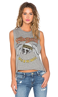 Lauren Moshi Kinzington Aerosmith Skull Crop Muscle Tank in Heather Grey