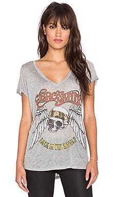 Lauren Moshi Becca Foil Aerosmith Skull V-Neck Tee in Heather Grey