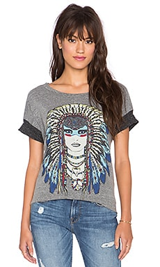 Lauren Moshi Bev Tribal Goddess Drop Shoulder Tee in Heather Grey & Charcoal