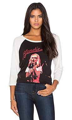 Lauren Moshi Maglan Blondie Boyfriend Raglan Tee in Onyx and Faded White