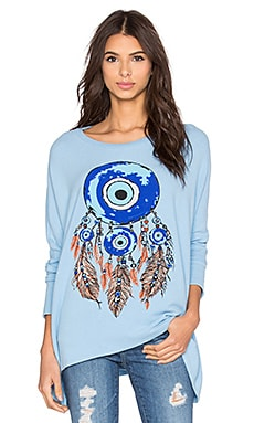 Lauren Moshi Mira Evil Eye Dreamcatcher Pullover in Vintage Blue