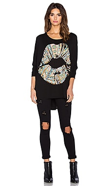 Lauren Moshi Kayla Large Pattern Lip Top in Black