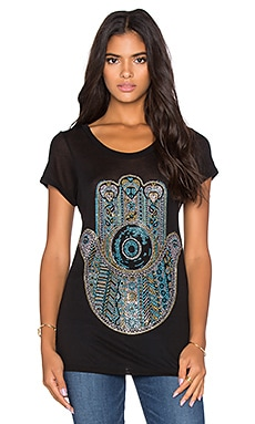 Lauren Moshi Amelie Crystal Hamsa Tee in Black