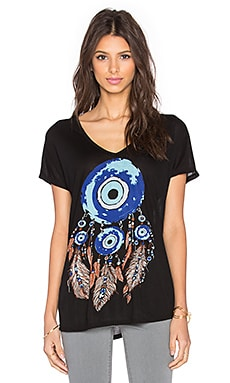 Lauren Moshi Trista Evil Eye Dreamcatcher V-Neck Tee in Black