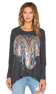 Lauren Moshi Mira Large Floral Elephant Oversized Top in Black