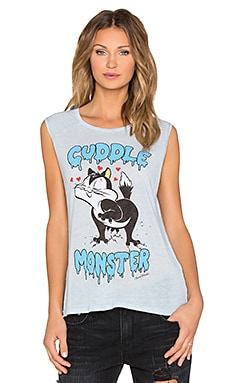 Lauren Moshi Riley Cuddle Monster Muscle Tank in Vintage Blue