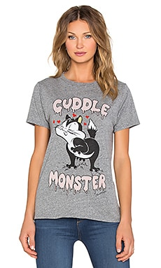 Lauren Moshi Capri Cuddle Monster Vintage Tee in Heather Grey