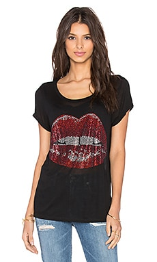 Lauren Moshi Amelie Crystal Mouth Tee in Black