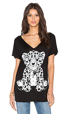 Lauren Moshi Trista Grey Heart Leopard Tee in Black