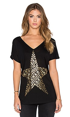 Lauren Moshi Trista Foil Stripe Chain Star Tee in Black
