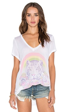 Lauren Moshi Becca Pretty Tiger V Neck Tee in White