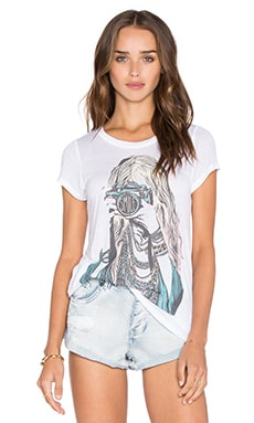 Amelie Color Camera Girl Tee in White