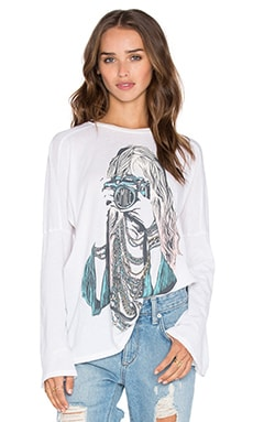 Lauren Moshi Patsy Color Camera Girl Bell Sleeve Tee in Faded White