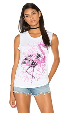 Lauren Moshi Kel Tank in Flamingo Scribble
