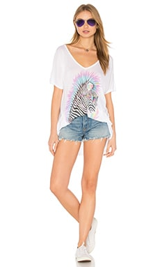 Lauren Moshi Trista Oversized V-Neck Tee in White