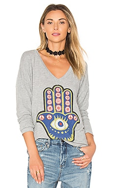 Nat Hamsa Eye Tee in Heather Grey
