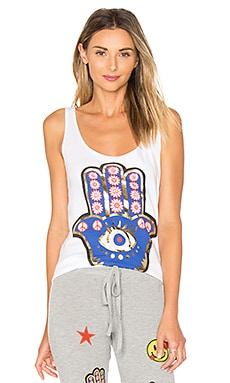 Parson Foil Hamsa Eye Tank in White