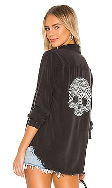 Sloane Nailhead Skull Button Up Denim Shirt Lauren Moshi $198