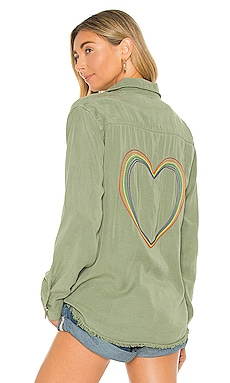 Pilar Rainbow Heart Shirt Lauren Moshi $198 NEW