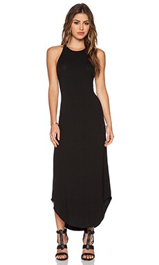LNA Leigh Bib Tank Dress in Black