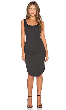 LNA Waffle Tank Dress in Charcoal