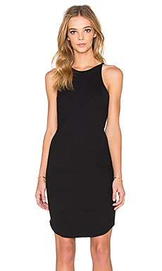 LNA Elise Dress in Black Rib