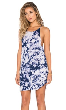Bib Tank Mini Dress in Blue Tie Dye