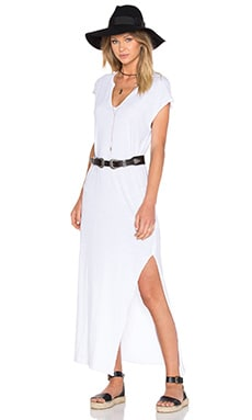 Cap Sleeve V Neck Maxi Dress in White