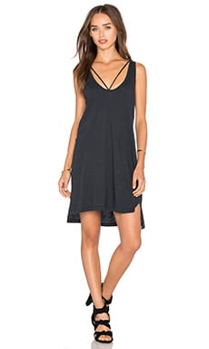 LNA Strappy Tank Dress in Faded Black
