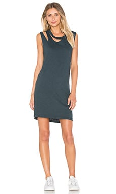LNA Double Cut Tank Dress in Washed Black