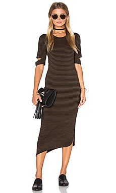 LNA Esso Dress in Chocolate Stripe