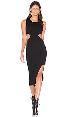 LNA Ribbed Union Dress in Black