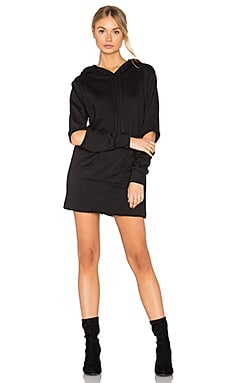 Hoodie Sweatshirt Dress in Black