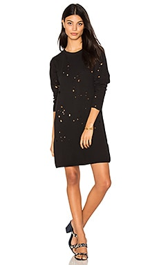 Destroyed Sweatshirt Dress in Black