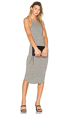 Square Bib Dress in Grey & Black Stripe