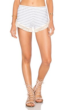 LNA Cantina Short in White & Navy Stripe