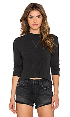 LNA Mock Crop Sweater in Charcoal