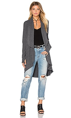 LNA Open Elbow Cardigan in Charcoal