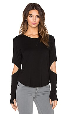 LNA Open Elbow Pullover in Black
