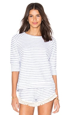 LNA Hacienda Sweatshirt in White & Navy Stripe