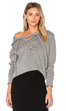 Lace Up Hoodie in Heather Grey