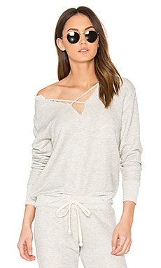 Cross Over Sweatshirt in Heather Grey