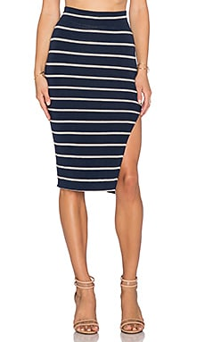 LNA Double Layer Pencil Skirt in Navy & Lino Stripe