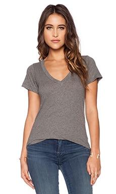 LNA Short Sleeve Deep V Tee in Heather Grey