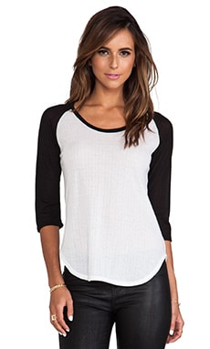 Pointelle Baseball Tee in White & Black Sleeves